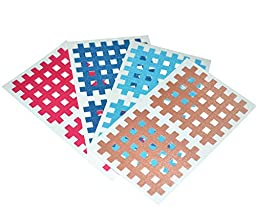 Macure Spiral Cross Kinesiology Tape for Therapy 5mm X 6mm 2pcs/sheet (Pack of 20 sheets) (Multicolour)