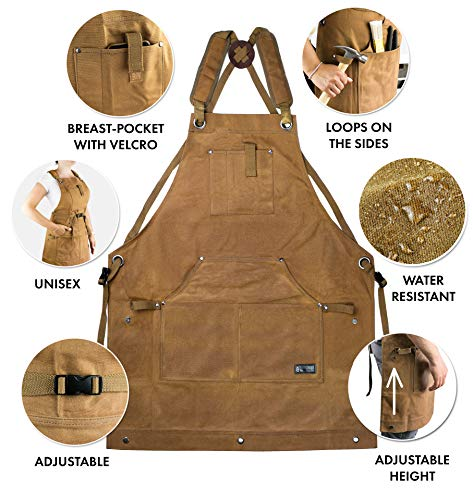 Waterproof Canvas Work Apron for Men and Women, Heavy-Duty Waxed for Durability and Safety - Brown by NomadFox (Image #5)