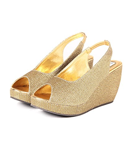 Orysta Stylish SH Golden Wedges for Women