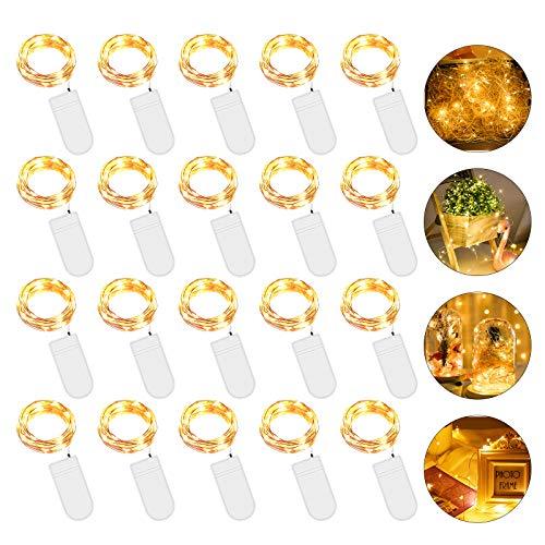 20 Piezas Cadena de Luces con Pilas, 20 LEDs 2M Luces de Cadena Micro Cobre, Alambre de Cobre Guirnaldas Luces, IP65…