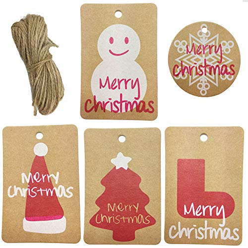 150 Pack Kraft Paper Christmas Name Tags Gift Tags Favor Tags Place Cards Hang Tags Price Tags with Matching Jute String for Christmas Wedding Party Holiday Favor Gift Wrapping (Style A)