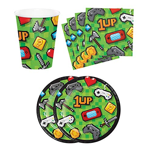 Gamers Fun Video Game Player Birthday Party Supplies Set Plates Napkins Cups Kit for 16 Includes Party Planning Guide -