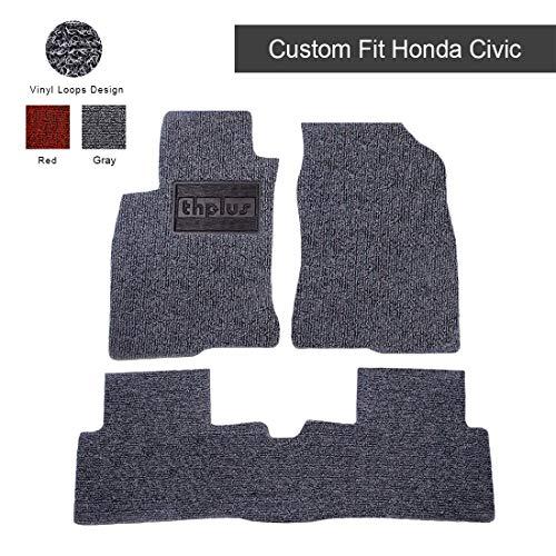 THPLUS Car Floor Mats, Honda Civic 2016-2019 All Season Protection Vinyl Car Mats, 4 Piece Floor Mats for Car (Full Set Trimmable Heavy Duty)