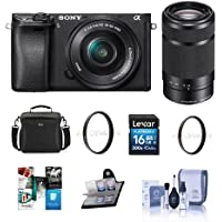 Sony Alpha a6300 Mirrorless Digital Camera Body with 16-50mm E-Mount Lens - Sony 55-210mm f/4.5-6.3 OSS Lens, Bundle with 16GB Class 10 SDHC Card, Camera Case, 40.5mm UV Filter, Software Package More