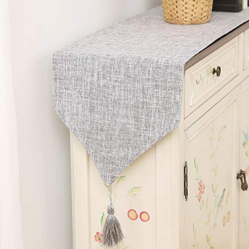 (JUNYZZQ Table Runner Plain Fresh Chinese Simple Table Flag Modern European American Garden Table Pendant Cupboard Cover Towel,30X220Cm)