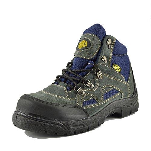 Kick Footwear - Herren Truka Leder Arbeit Steel Toe Leichte Erwachsene Spitzen-Up-Arbeit Sicherheit Stiefel Grau