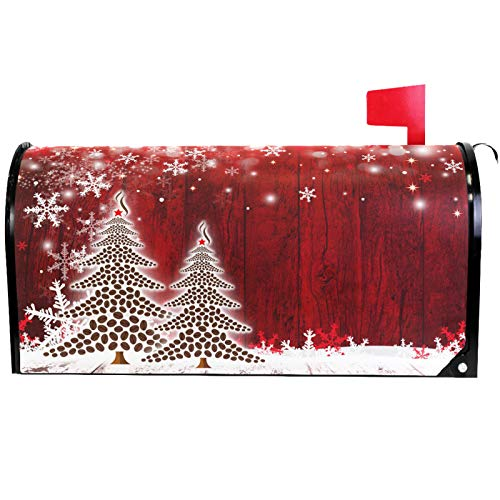 Merry Christmas Tree Winter Snowflake Pine Mailbox Covers Standard Size Red Christmas Tree Wood White Snow Magnetic Mail Wraps Cover Letter Post Box 21
