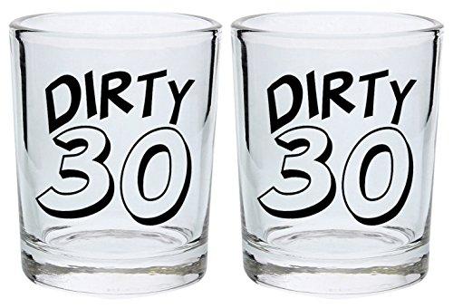30th Birthday Shot Glass Dirty 30 Thirty Funny 30th Gift Shot Glasses 2-Pack Round Shot Glass Set Black
