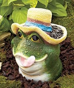Frog Bird Feeder Garden Decor