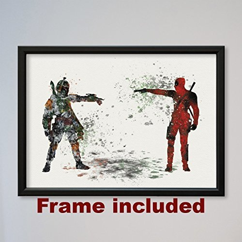 Amazon.com: Star Wars Deadpool vs Boba Fett FRAMED Poster: Handmade