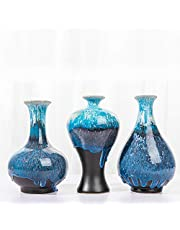 HUASD vase set of 3, kiln-changed glaze handmade decorative vase for home decoration, living room decoration, kitchen, office, wedding or living room-2020 fashion color series