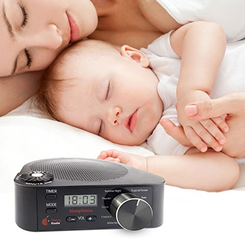 Cherry Koala Sleep Tones Sound Therapy Machine, You & Baby can Relax and Rest Easily with Natural Sounds including White Noise, Perfect for Meditation & Tinnitus sufferers, Plug-in or Portable