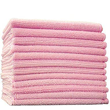 THE RAG COMPANY (12-Pack) 16 in. x 16 in. Commercial Grade All-Purpose Microfiber HIGHLY ABSORBENT, LINT-FREE, STREAK-FREE Cleaning Towels (Pink)