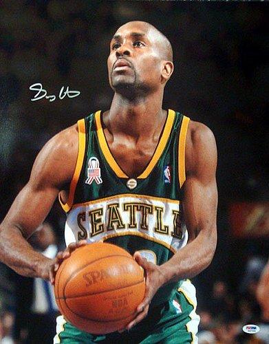 (Gary Payton Signed 16 x 20 Photo Seattle Sonics - PSA/DNA Authentication - NBA Basketball Photos)