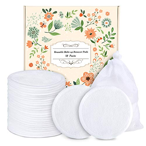 Reusable Cotton Rounds - 18 Pack 100% Organic Reusable Cotton Pads With Washable Laundry Bag Makeup Remover Pads for Toner Eco-Friendly Bamboo Cotton Pad for All Skin Types