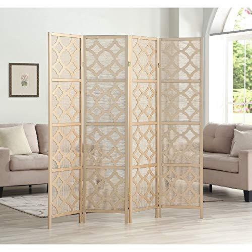 Roundhill Furniture RD044GL Quarterfoil Infused Diamond Design 4-Panel Room Divider, Gold