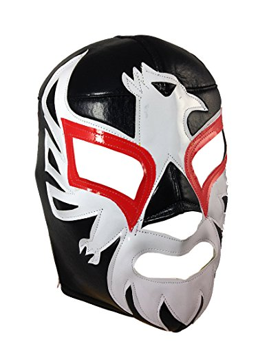 [MEXICANO Adult Lucha Libre Wrestling Mask (pro-fit) Costume Wear - Black] (Wwe Wrestling Costumes For Adults)