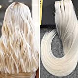 Ugeat 16inch 50Gram 100% Remy Clip in Human Hair Extensions Brazilian #60 Platinum Blonde 1 Piece 5 Clips Soft Silky Straight Clip in Extensions Real Hair for Women Beauty