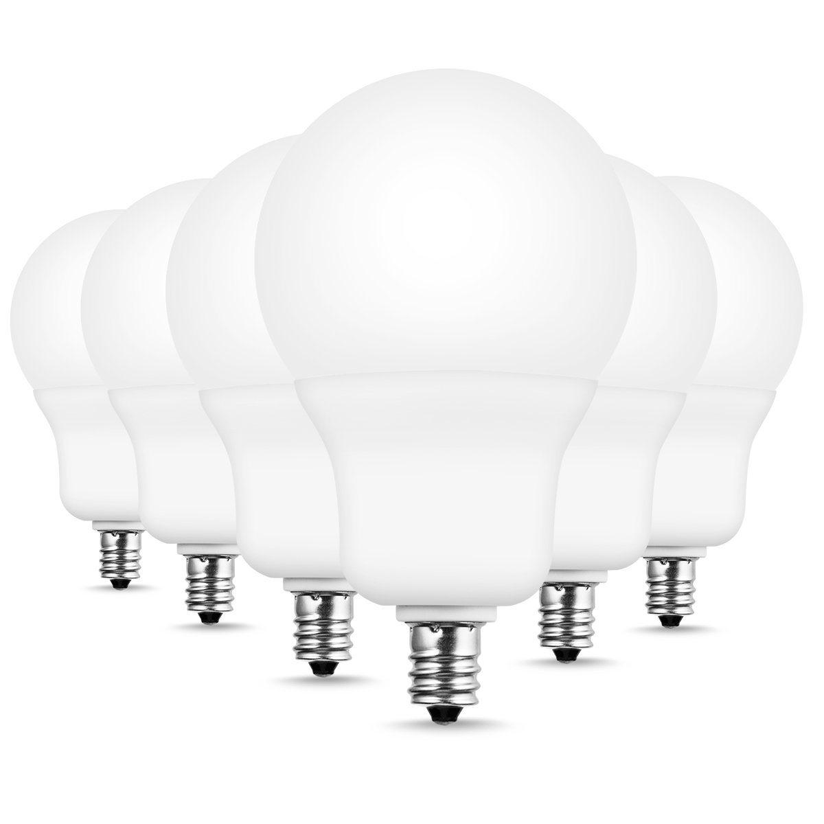JandCase A19 Candelabra LED Light Bulbs, 7W(60W Incandescent Equivalent), 700 LM, Natural Daylight White 4000K Energy Saving LED Bulb for Ceiling Fan, Home Lighting, E12 Base, Not Dimmable, 6 Pack