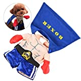 Petacc Adorable Pet Halloween Costume Cute Dog Christmas Clothes Charming Dog Fancy Outwear Apparel with Back Cloak and Snap Fastener, Boxing Champion Style, Suitable for Small-sized Dogs (XL)