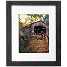 Malden Manhattan Rough Rustic Fashion Wood Mat Picture Frame, 11-Inch X 14-Inch/16-Inch X 20-Inch, Black