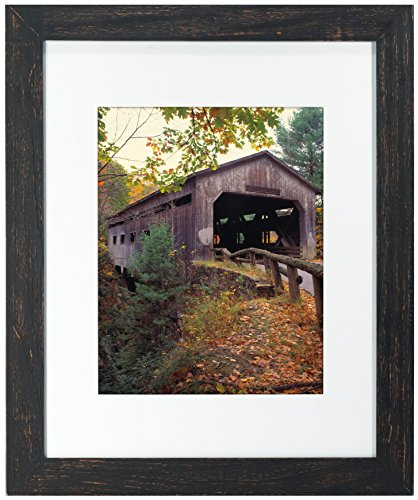 Cheap Malden 11×14 Distressed Wood Matted Picture Frame – Made to Display 8×10 with Mat, or 11×14 Without Mat – Black