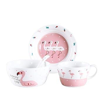 Vajilla infantil cubiertos de cerámica juego de platos para bebés cubiertos de mesa cuchara de cristal de agua de dibujos animados: Amazon.es: Hogar