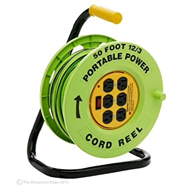 Designers Edge E-238 Power Stations 12/3-Gauge 50-Foot Cord Reel with 6 Outlets