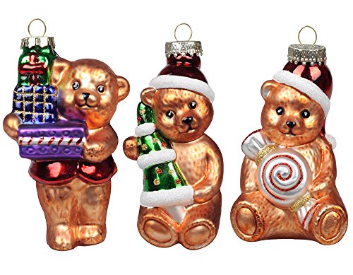 KI Store Christmas Tree Ornaments Glass Teddy Bears 4.7' Hanging Decorations Santa Claus Hand Painted Xmas Tree Cute Figurine Set of 3