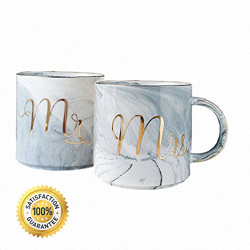 Vilight Mr Mrs Mugs Set - Bridal Shower Engagement and Wedding Gifts - Anniversary Coffee Cups for Engaged Married Couples - Ceramic Marble Tumbler 11.5 oz by VILIGHT (Image #1)