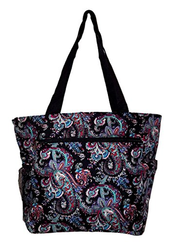 Large Multi - Pocket Fashion Zipper Top Organizing Beach Bag Tote - Custom Embroidery Available (Black Paisley Print - Name)