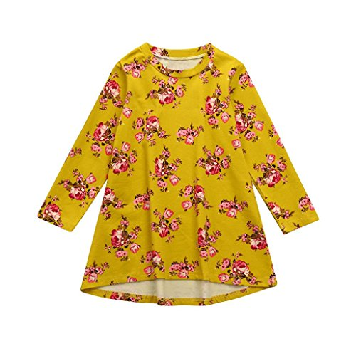 Goodlock Toddler Infant Kids Fashion Dress Baby Girls Dress Floral Print Sun Dresses Clothes Outfits (Yellow, Size:3T)