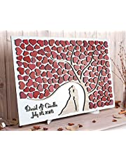 Custom Wedding Guest Book Alternative Red White Wedding Theme 3D Guestbook Wooden Sign Personalized Modern Wedding Ideas Unique Wedding Tree