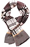 YSSP, BrownWhite Plaid 63'' x 11'' Man's 100 Pure silk scarf wrap Accessory gift