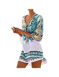 Cimenn Vestido con Estampado de Serpiente para Mujer, Blusa de Verano con chifón de Playa y Bikini(Rosado)