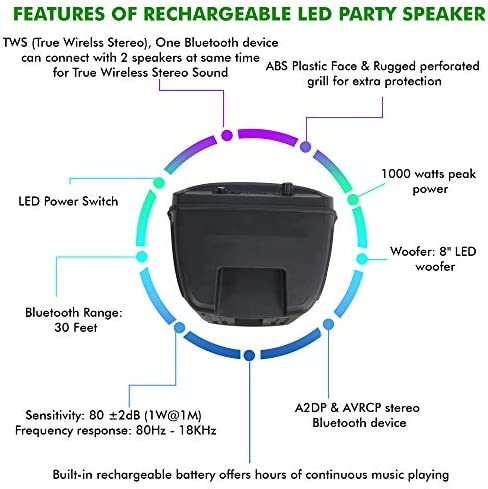 (Qty 2) Portable 8 Inch Portable 1000 watts Bluetooth Speaker with Woofer & Tweeter, Festival PA LED Speaker with Bluetooth/USB Card Inputs, True Wireless Stereo, 30 Feet Bluetooth Range
