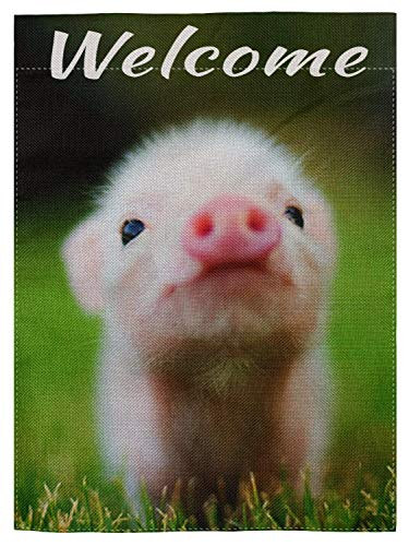 pingpi Cute Baby Pig Welcome Qoute Double Sided Burlap Garden Flag 12.5