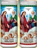 Set of 2 Holy Trinity Prayer Candles 2 Veladoras De La Santisima Trinidad