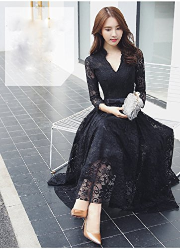 Yijinxiu パーティードレス ロングドレス ブラック ワンピース 結婚式 ドレス Vネック レース 二次会 フォーマル 舞踏会 演奏会 披露宴ドレス お呼ばれ dress ブライズメイド ロングドレス 大きいサイズ 小さいサイズ 黒