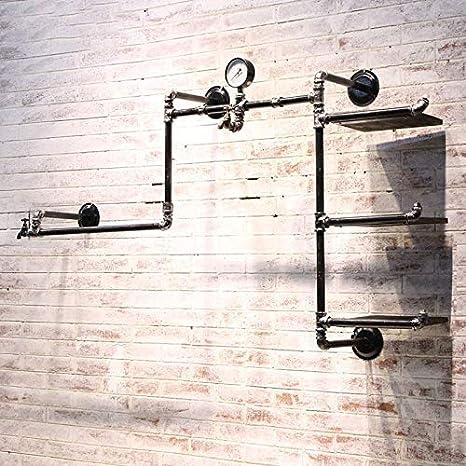 Amazon.com: Retro Industrial tubo colgar ropa rack rack de ...