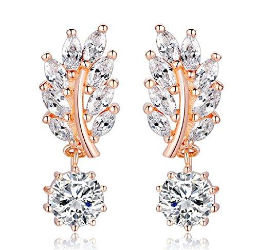 Aretes Laminados En Oro Trendy Jewelry Women Drop Earring Rose Gold With Cz In Leaf Shape Ar0011