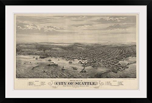 "GreatBIGCanvas ""Vintage Birds Eye View Map of Seattle, Washington"" Photographic Print with black Frame, 36"" X 22"""""