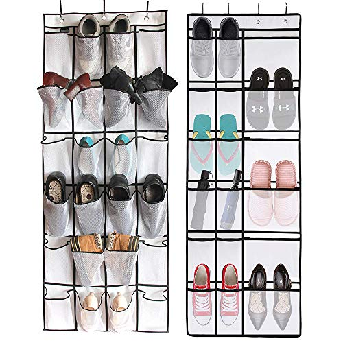 HOMMINI 2 Packs Hanging Shoes Organizer, Over The Door Shoes Organizer Storage Rack Space-Saving 24 Mesh Pockets + 18 Mesh Pockets Shoe Holder for Shoes and - 18 Pockets Hanging
