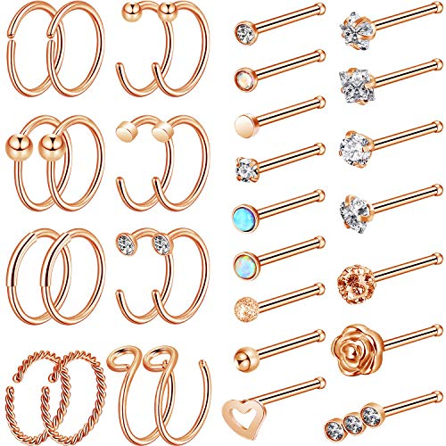 Chinco 32 Pieces C-Shaped Nose Ring L-Shaped Hoop Tragus Nose Studs Bone Curved Hoop Tragus Cartilage Hoop Piercing (Style Set 2, Rose Gold)