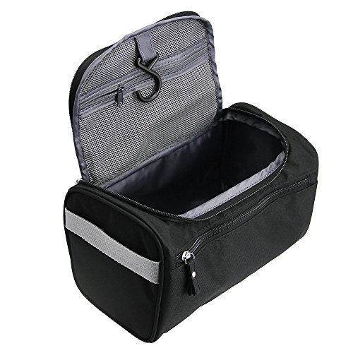 TravelMore Hanging Travel Toiletry Bag Organizer & Dopp Kit for Travel Accessories Toiletries Shaving & Makeup (Black Light Hairspray)