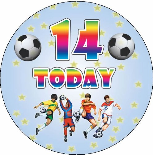 birthday boy happy birthday age 14 7 5 football style circular