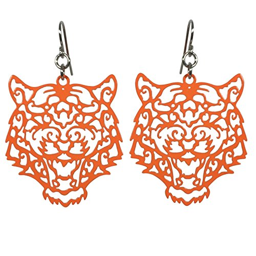 Laser Cut Tiger Face Open Thin Filigree Swirl Dangle Drop Earrings - Face For Round Short Glasses And Hair