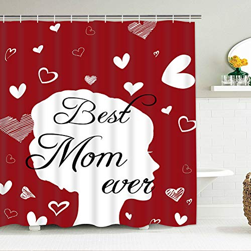 BLEUM CADE Mother's Day Shower Curtain, Best Mom Ever Shower Curtain Mom Gift Red & White Hearts Shower Curtains with 12 Hooks, Waterproof Shower Curtain for Bathroom (Best Shower Hooks Ever)