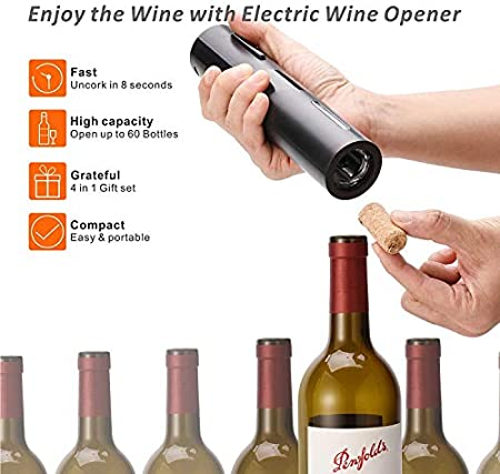 Queta Juego de Abridores de Botella de Vino Eléctrico Sacacorchos Automático Abrebotellas Recargable Inalámbrico Herramientas con Tapón de Vacío Cortador de Papel de Aluminio Vertedor de Vino