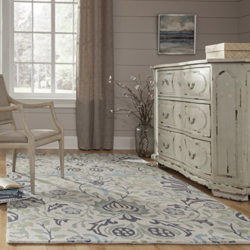 Momeni Rugs NEWPONP-12BLU3959 Newport Collection, 100% Wool Hand Tufted Loop Cut Contemporary Area Rug, 3'9